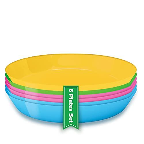 Platos de plastico reutilizables (6 Uds), Vajilla reutilizable de plástico duro, Platos picnic...
