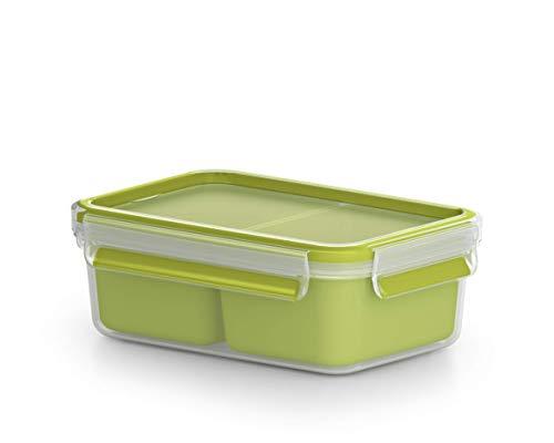 Emsa Clip&Go Snack - Recipiente hermético de plástico con 2 compartimentos totalmente hermético y...
