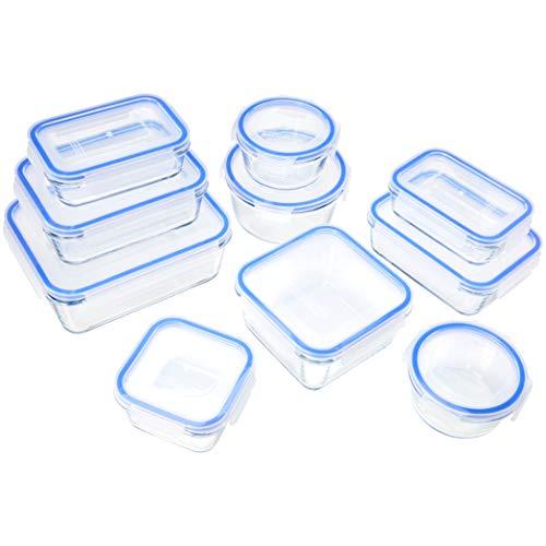Amazon Basics - Recipientes de cristal para alimentos, con cierre 20 piezas (10 envases + 10 tapas),...