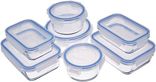 Amazon Basics - Recipientes de cristal para alimentos, con cierre 14 piezas (7 envases + 7 tapas),...