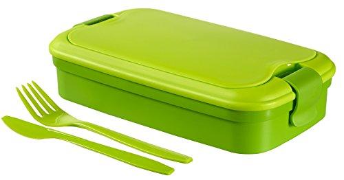Curver - Bento Recipiente para Alimentos Lunch & Go 1.4 L - Con Cubiertos - 2 Compartimentos +...