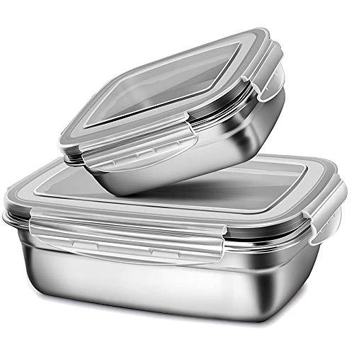 G.a HOMEFAVOR Fiambrera con Acero Inoxidable 2 Piezas Caja Bento Lunch Box para Niños Y Adultos con...