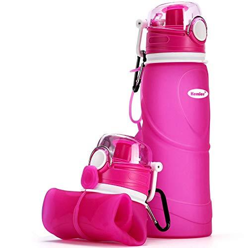 Kemier Botellas de Agua de Silicona Plegables–750ML,Calidad Médica Libre de BPA,Aprobado por...