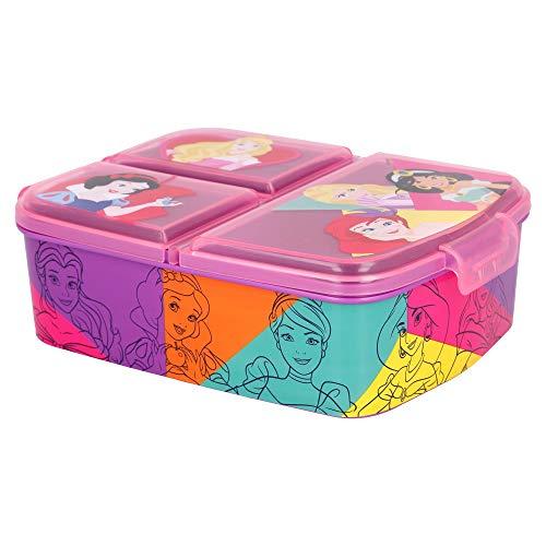 PRINCESAS DISNEY   Sandwichera con 3 compartimentos para niños - lonchera infantil - Porta merienda...