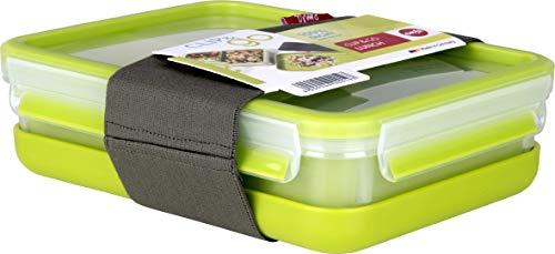 Emsa Clip&Go Lunchbox - Recipiente hermético de plástico con 3 compartimentos y bandeja...