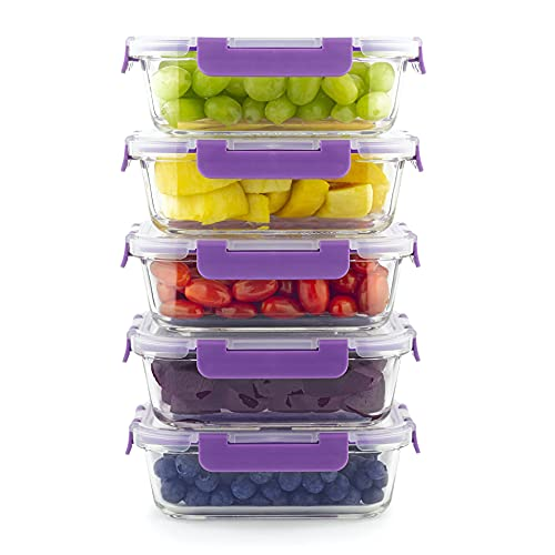 Home Planet Recipientes De Cristal para Alimentos | 860ml X 5 | SIN envases de plástico |...