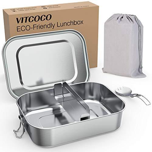 VITCOCO Fiambrera 1200ml Acero Inoxidable Fiambrera Caja de Almuerzo con Recipiente Hermético...