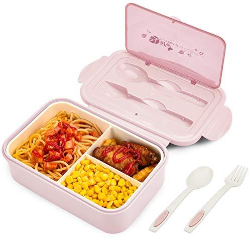 BIBURY Fiambrera, caja bento a prueba de fugas para niños adultos, recipiente para alimentos con 3...