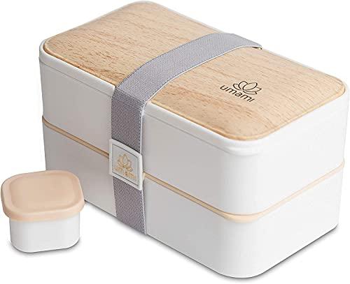 UMAMI Bento Lunch Box , 2 Recipiente 4 Cubiertos , Tupper Compartimentos Estilo Bento Box Japonés ,...
