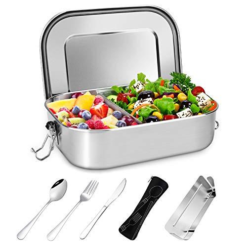 Gifort Fiambrera de Acero Inoxidable, Lunch Box Premium 1400ml con Divisor Extraíble y 3 Cubiertos,...