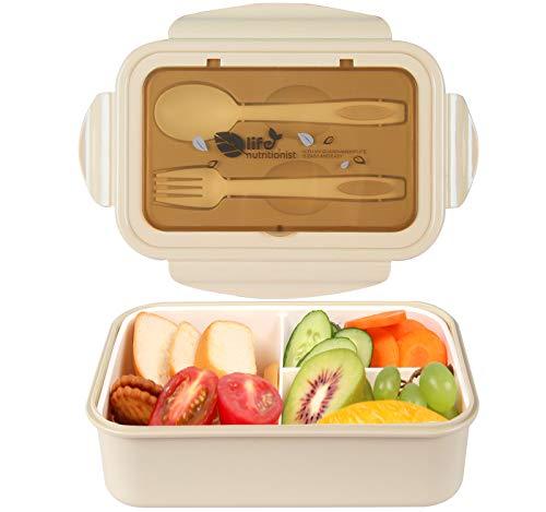 MEIXI Fiambrera Infantil Caja de Bento con 3 Compartimentos y Cubiertos Fiambreras Caja de Alimentos...
