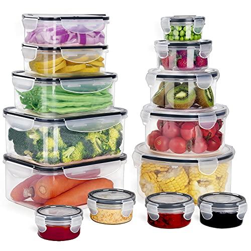 GoMaihe Recipientes de Plástico Alimentos 28 Pieza (14 envase, 14 Transparente Tapa) Juego De...