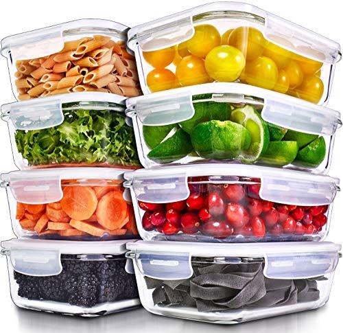 Recipientes para Alimentos [8 Pieza 1000 ml] -Recipientes de Cristal para Alimentos Hermético...