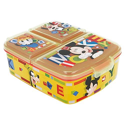 MICKEY MOUSE (DISNEY) | Sandwichera con 3 compartimentos para niños - lonchera infantil - Porta...