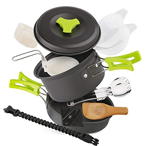 EXTSUD Utensilios Cocina Camping para 1-2 Personas con Sartén de Aluminio, Cuchara de Sopa,...