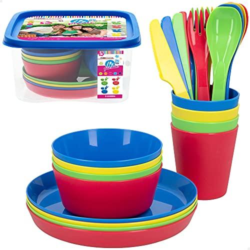 Aktive 16435 - Set camping, Vajilla camping 4 personas, cubiertos, platos, vasos reutilizables,...