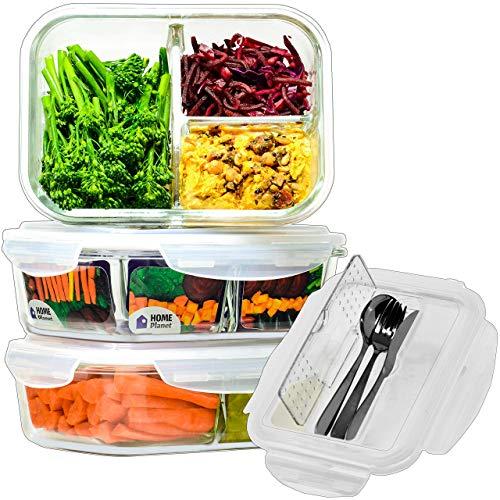Home Planet Recipientes de Cristal para Alimentos con 3 Compartimentos y Cubiertos | 1050ml X 3 |...
