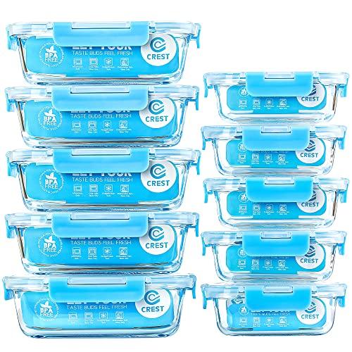 Recipientes de vidrio con tapas herméticas para almacenamiento de alimentos, paquete de 10,...
