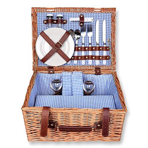 Schramm® Cesta de picnic 40x30x20cm rectangular de madera de sauce para 2 personas